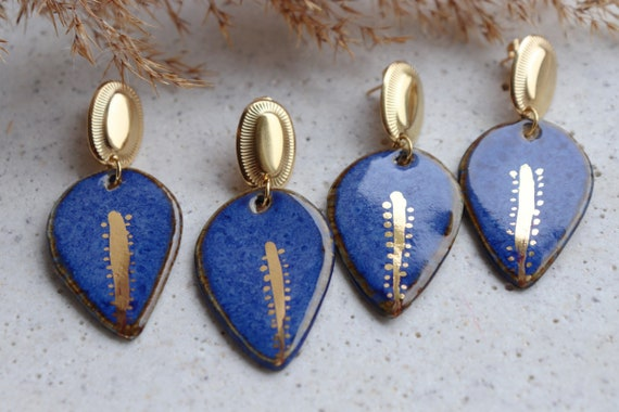 Blue / gold essence porcelain earrings