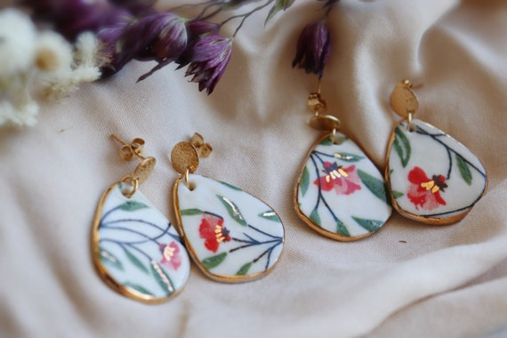 Red floral/plants  porcelain earrings