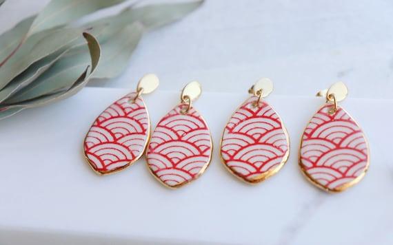 Small teardrop red ocean waves porcelain dangle earrings