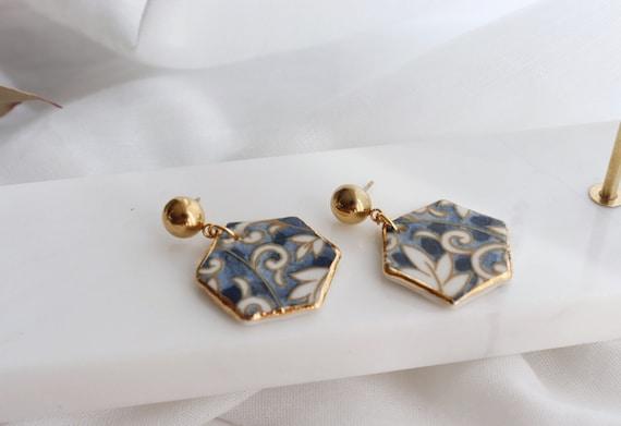 Floral pattern Hexagon porcelain dangle earrings