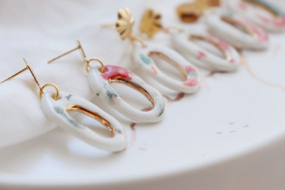 Organic  shape  porcelain dangle earrings
