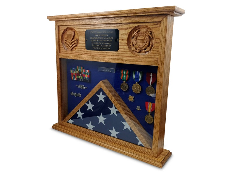 Table Top Military Shadow Box Flag Display Case image 0
