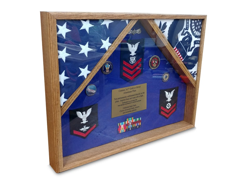 Military Retirement Shadow Box Display Case Double Flag image 0