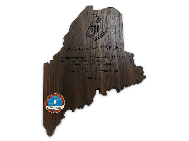 Maine State Personalized Wooden Plaque image 0