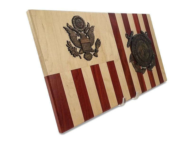 Coast Guard Personalized Retirement Wood Flag Going Away Gift image 0