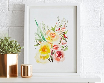 Ranunculus Watercolor painting, Flowers, Floral Print, Printable art, Home decor, Original art, Floral wall art, Instant Download