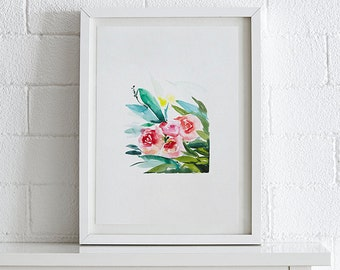 Peony Watercolor painting, Flowers, Floral Print, Printable art, Home decor, Original art, Floral wall art, Instant Download