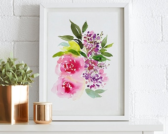 Peonies, Watercolor painting, Flowers, Floral Print, Printable art, Home decor, Original art, Floral wall art, Instant Download