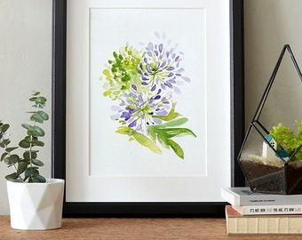 Delicate Agapanthus, Watercolor painting, Flowers, Floral Print, Printable art, Home decor, Original art, Floral wall art, Instant Download