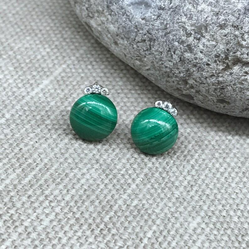 Natural Malachite button bead rhinestone tiara design sterling silver stud earrings gemstone petite everyday jewelry E626