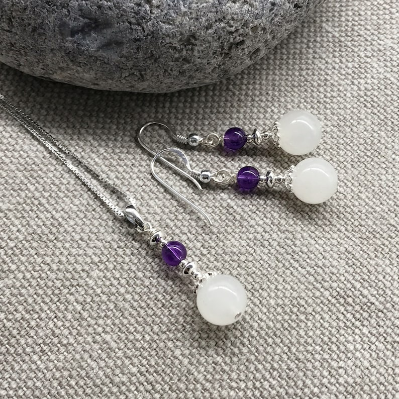 Handmade natural white chalcedony amethyst sterling silver dangling earrings chain necklace gemstone jewelery set JS1