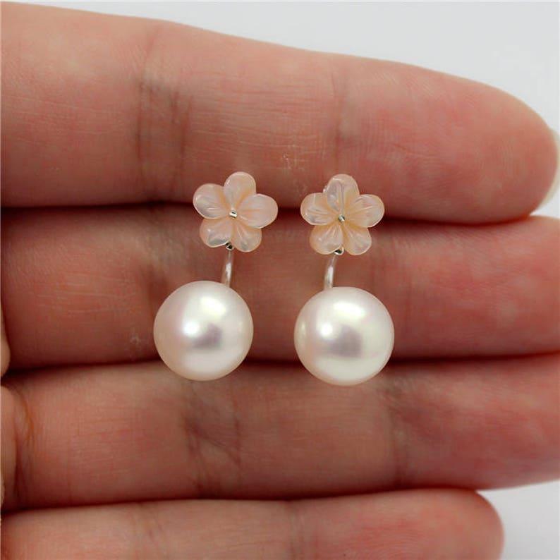 Light Pink Mother of Pearl Seashell Flower Fresh Water Button Pearl 925 Silver Ear Jackets Earrings Party Wedding Prom Jewelery E540