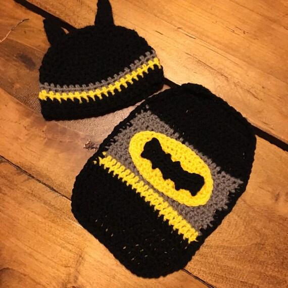 Crochet Batman Newborn Hat Crochet Batman Photo Set Crochet Etsy