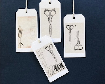 Gift Tags, Tags, Sewing, Scissors,