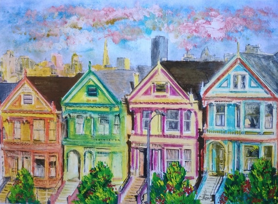Painted Ladies In San Francisco Victorian Houses Full House Etsy
