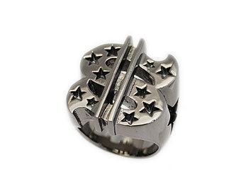 CrossSilver Black Ruthenium PlatedBrass RingSilver Black Cross RingBiker JewelryBiker RingBrass RingMen/'sWomen/'s nd-r019