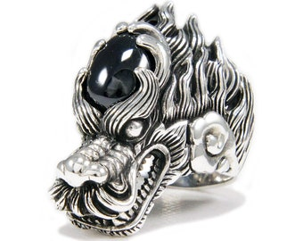 5581817e8 Black Stone/Dragon/Drake/925 Sterling Silver Ring/Silver Black Dragon Ring/Biker  Ring/Silver Drake Ring/Biker Jewelry/Men's/Women's nd-r029