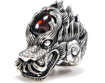 2bf7dc981 Red Stone/Dragon/Drake/925 Sterling Silver Ring/Silver Red Dragon Ring/Biker  Ring/Silver Drake Ring/Biker Jewelry/Men's/Women's nd-r028
