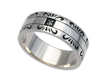 Onyx925 Sterling Silver Band RingSilver Black Onyx RingSilver Arabesque Band RingFine JewelryBiker JewelryMen/'sWomen/'s ks-r049