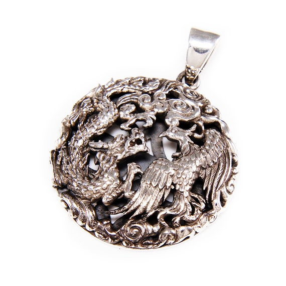 DRAGON PHOENIX YIN /& YANG 925 STERLING SILVER MEN/'S WOMEN/'S PENDANT gb-097