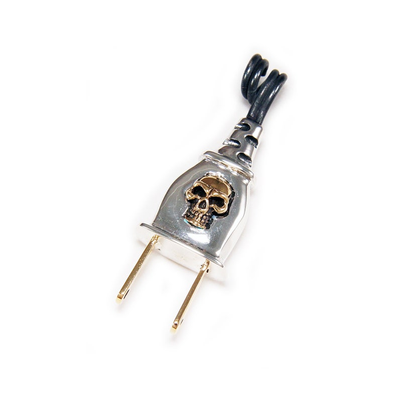 Gold Plated SkullElectric Plug925 Sterling Silver PendantSilver Skull PendantCharmBikerNecklaceSkull SilverMen/'sWomen/'s jo-072