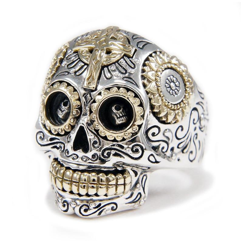 Santa Muerte/Sugar Skull/Good Vibration/925 Sterling Silver image 0
