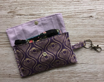 Handmade  Small Hand Crocheted Wool Treasure Pouch  Vintage Zipper /& Fabric Inner  Pony Feather