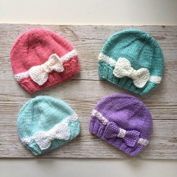 0-3mths NEW Hand knitted  baby girl bonnet