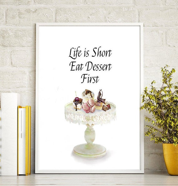 kitchen wall dessert quotes art print home kitchen wall food