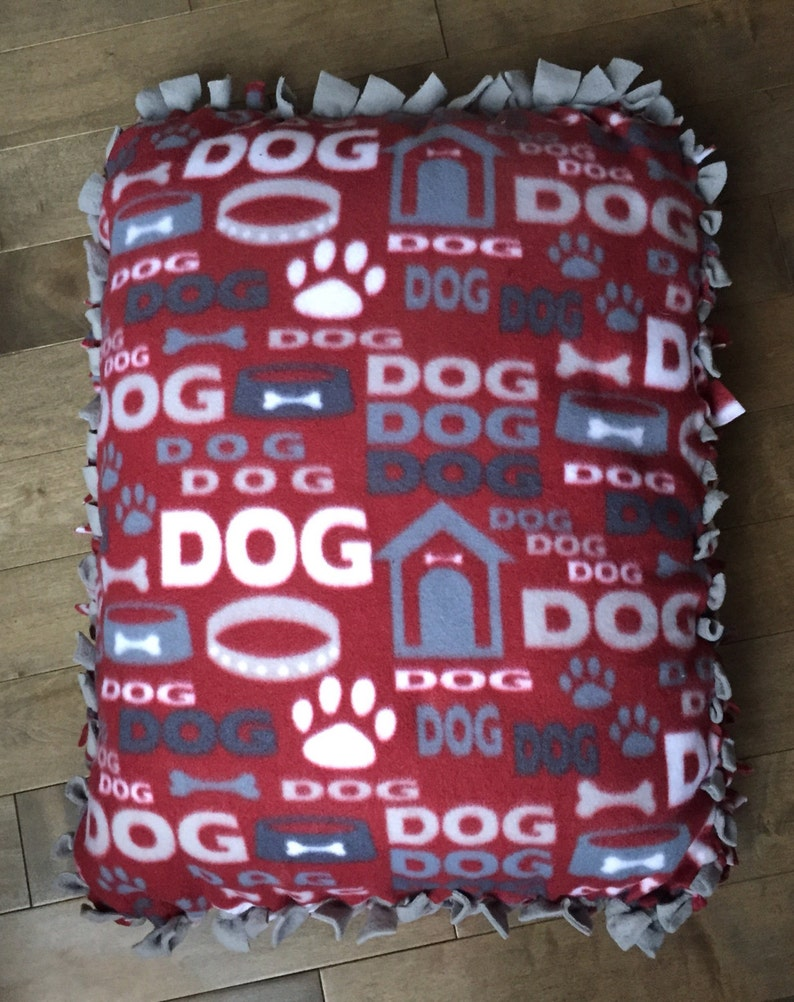 Small Fleece Pet Bed/Pillow Burgundy Dog  Print with Solid image 0