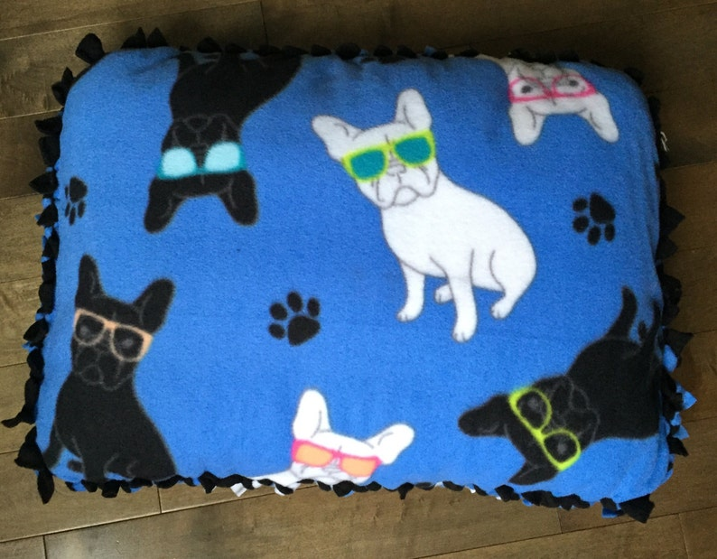 Small Fleece Pet Bed/Pillow Funky Frenchies with Solid Black image 0