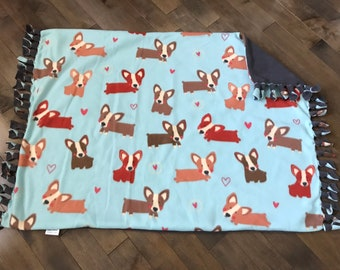 Pet/Travel/Kids/ Stroller Blanket - Cutie Corgi with Solid Charcoal Gray Back