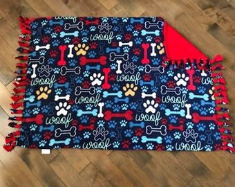 Pet/Travel/Kids/ Stroller Blanket - If Dogs Could Talk Blue with Solid Red Back