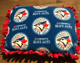 Small Fleece Pet Bed/Pillow, Go Jays Go with Solid Red Back