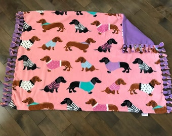 Pet/Travel/Kids/ Stroller Blanket - Pretty Pink Dachshunds with Solid Lilac Purple Back