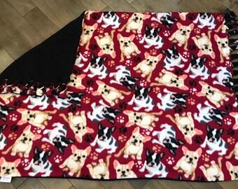 Pet/Travel/Kids/ Stroller Blanket - Burgundy Frenchies with Solid Black Back