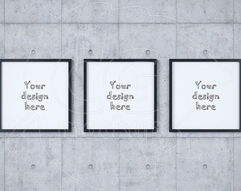 Download Free Digital frame mockup, Concrete wall background, Set mockup, Stock product mockup, Black frame, Triptych art, Instant download, Square prints PSD Template