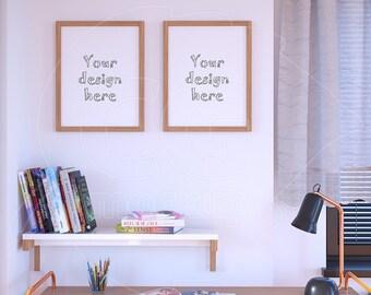 """Frame product mockup, 11x14"""", Set of two wooden frame, Desktop mock up, Styled desktop, Mock up photo, Picture frame, Stock photography"""