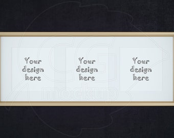 Styled stock photography, Golden frame mockup, Square frame mockup, Product mockup, Frame with matt, Set frames, Triptych wall art, PSD file
