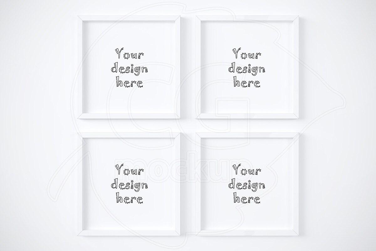 Set von 4 Mockups Drucke quadratische digitale Bilderrahmen   Etsy