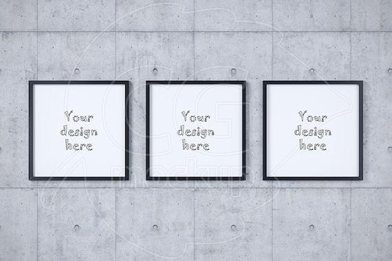 Digital frame mockup Concrete wall background Set mockup | Etsy