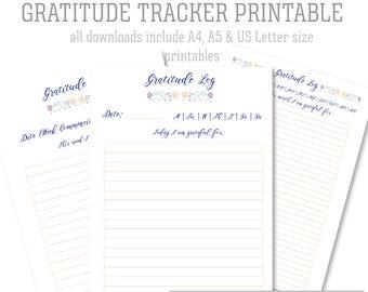 Floral Gratitude Tracker Journal Log Printable