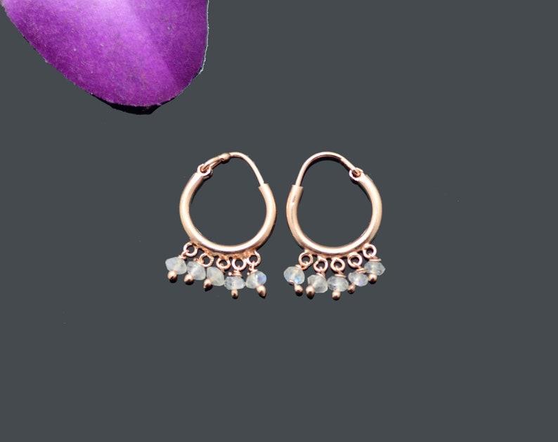 febe72db3 Small Rainbow Moonstone Hoop Earring Rose Gold White Gemstone | Etsy