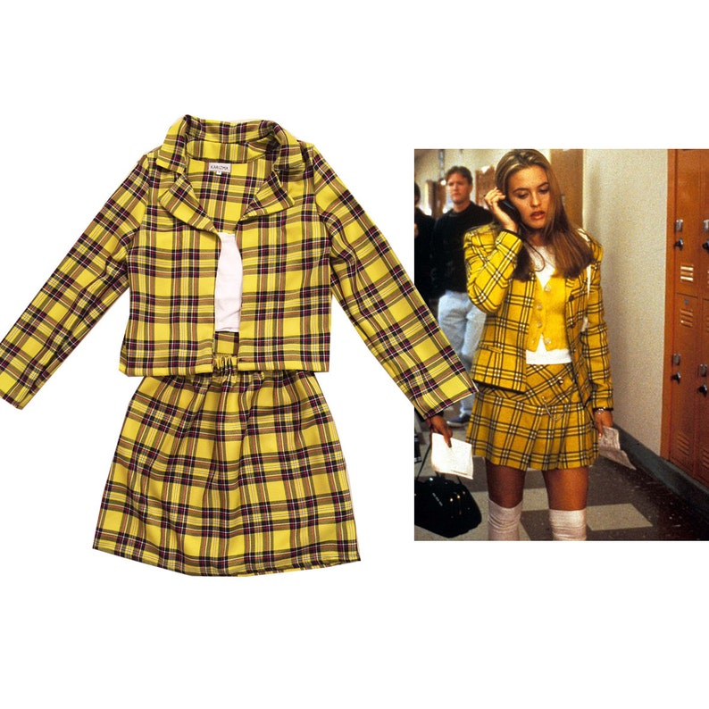 SALE Cher's Clueless Outfit Yellow Tartan Plaid Fancy image 0