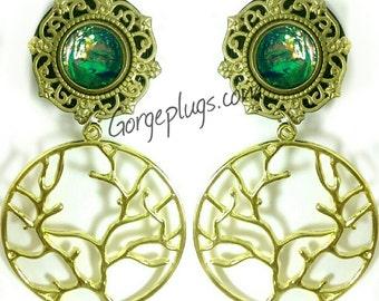 Harvest Wheat Glass Ceramic Ear Plugs Organic Handmade double-flared gauges Essential Oil Diffuser Pair
