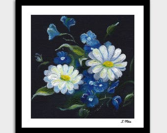 White Daisy Flowers. Original Oil Painting. Wild Daisies. Floral painting.  Fine Art. Best Gift. Home Decor. Instant Download. Free shipping