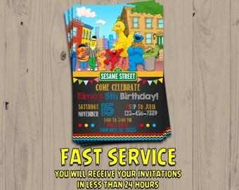 Sesame Street Invitation Inspired - Sesame Street Chalkboard Birthday - Elmo Invite - Party Favors - Digital - Printable - Personalized