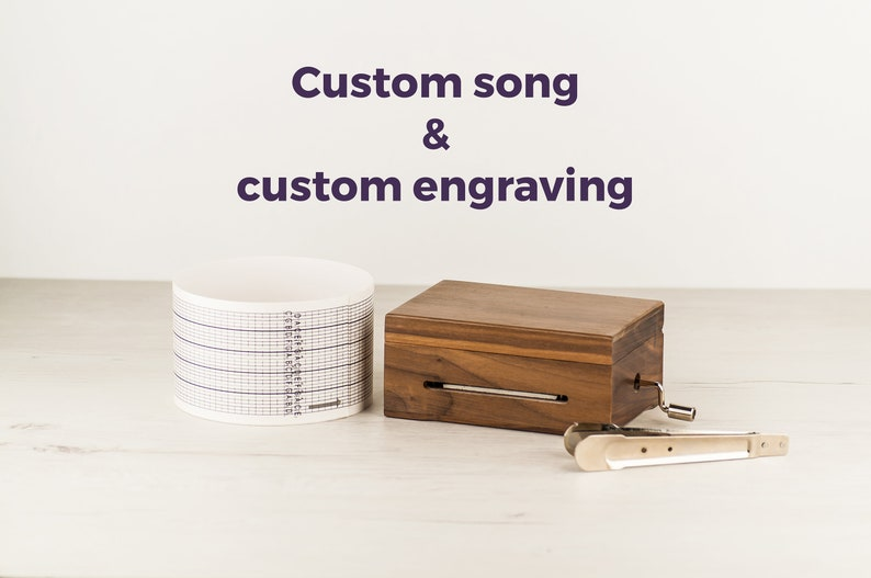 Custom song music box with personalized engraved design  Your image 0