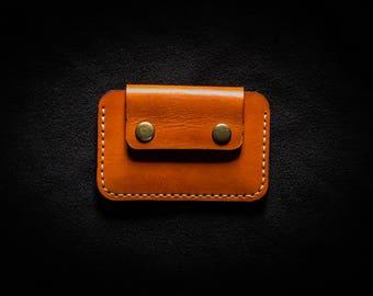 Minimalist wallet / Front pocket wallet / Flap wallet / Snap wallet / Leather Card holder / Handmade wallet / PERSONALIZED