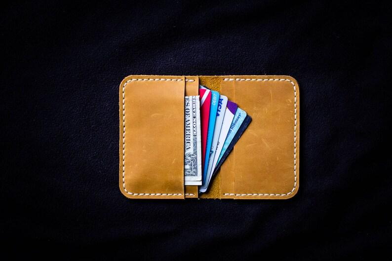 da45c2c862e6 Yellow leather credit card wallet   Minimalist wallet